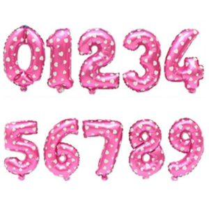 Ballons chiffres roses avec coeurs