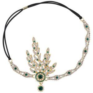 Bandeau avec Strass blanc et vert et perles style années 20