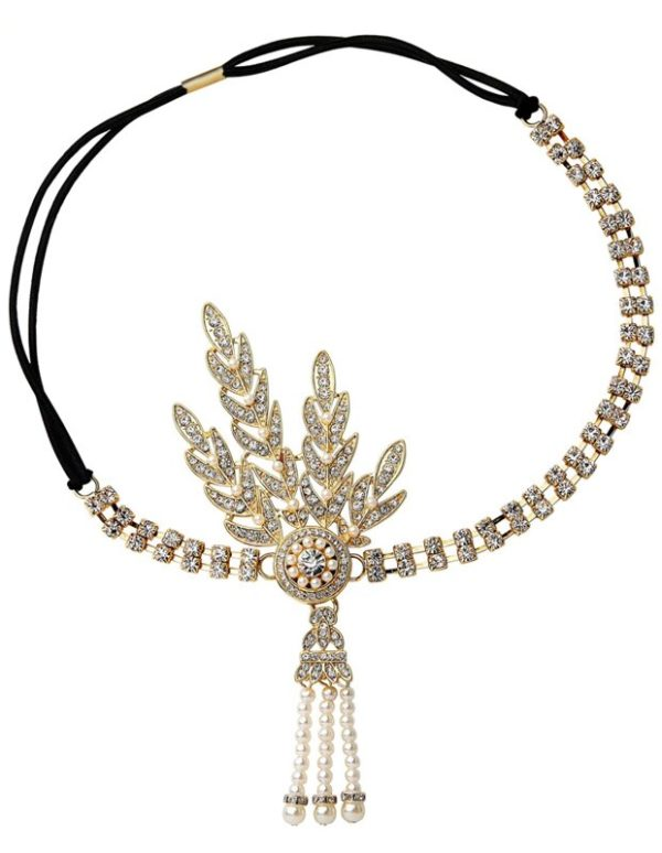 Bandeau Strass, Or et perles style années 20